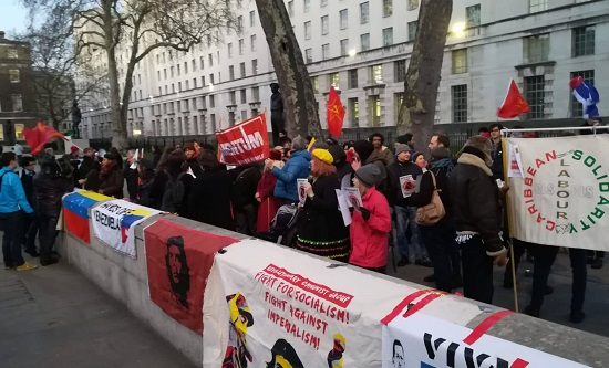 Hands off venezuela RCG downing st rally jan 19.jpg
