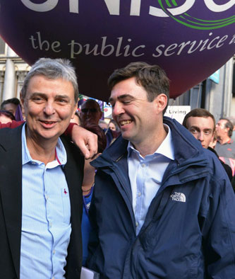 Getting cosy. Labour MP Andy Burnham with Unison union leader Dave Prentis (£128,000 a year)