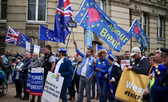 Protestors against Brexit at the Tory conference in Birmingham 2018