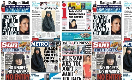 British newspapers Shamima Begum headlines