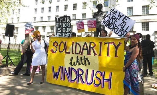 Protestors demonstrate for solidarity with the Windrush generation