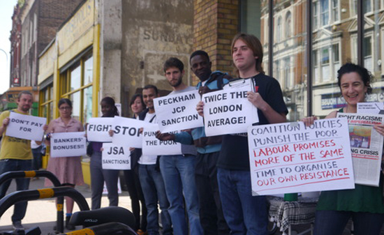 May 2014: FRFI supporters demonstrating against benefit sanctions at Peckham Jobcentre