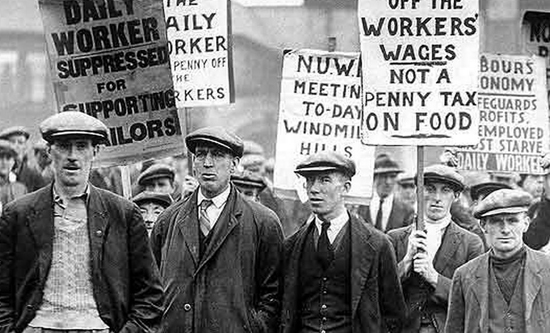 workers demonstrating