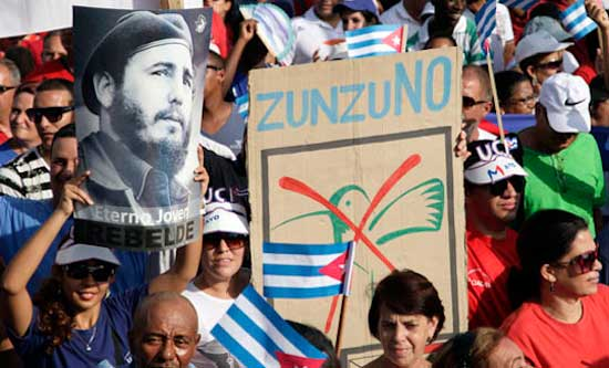Protest against USAID's earlier 'Zunzuneo' campaing aimed at destabilising Cuba