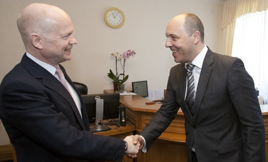 William Hague met with National Security and Defence Council of Ukraine Andriy Parubiy