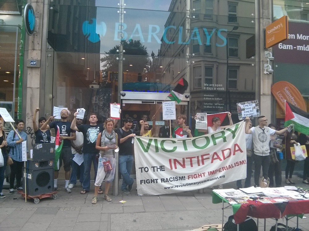 VTI Boycott Israel Protest Oxford Street outside Barclays Bank