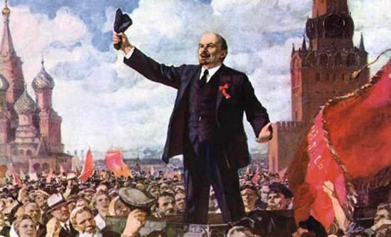Lenin speaking on Red Square May 1919