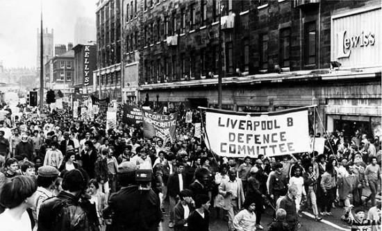 Protest march by the Liverpool 8 defence committee