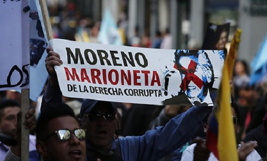 Protestors condemn President Moreno as a right-wing puppet
