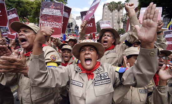 Venezuela's armed forces and civilian militias mobilised in solidarity with the government