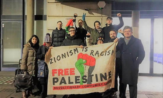 London RCG comrades and supporters protest outside Camden Council, 21 January 2019