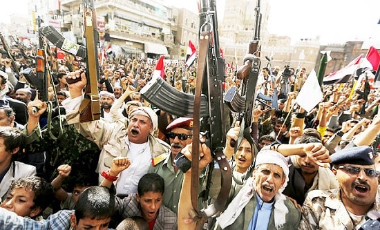 Supporters of the Houthi-led resistance in Sana'a protest against the Saudi bombing of their country
