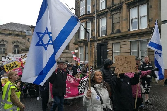 Israel flags on an 'anti-racist' march