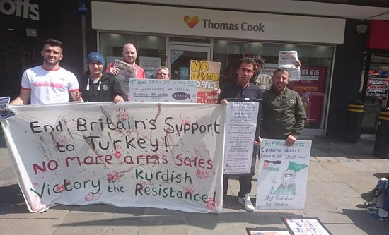 Newcastle FRFI supporters picket Thomas Cook in solidarity with Afrin