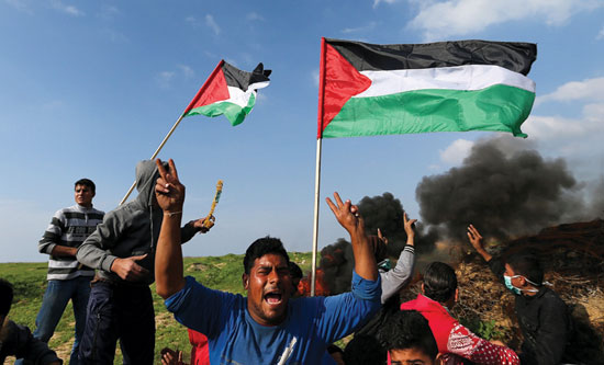 Palestinians protest at the Great March of Return