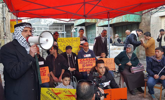 Sit-in protest at Shuhada Street checkpoint in Occupied Hebron