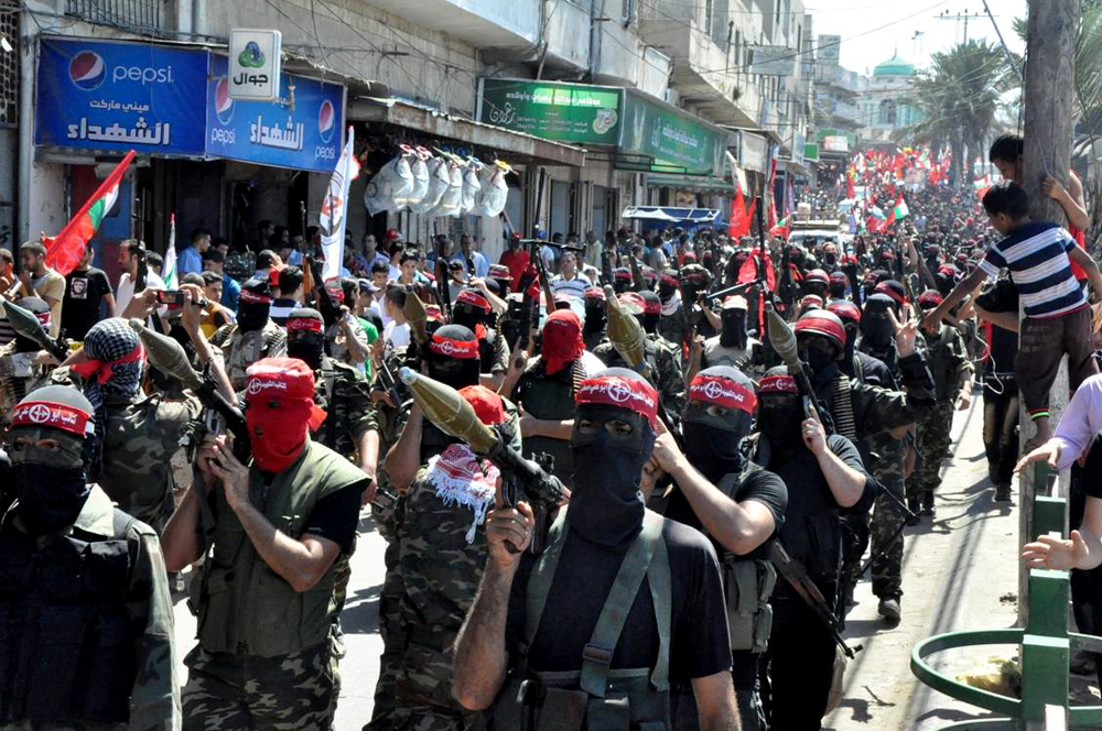 PFLP mass march and military rally in Gaza