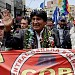 Bolivia's President Evo Morales heads a march of the COB (Bolivian Workers' Confederation) during a rally for re-election in 2019