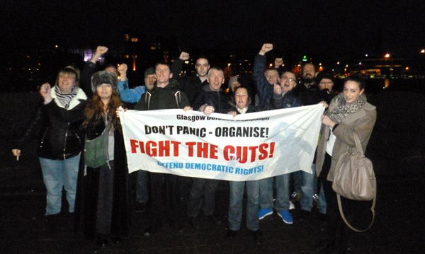 Militant protest held outside Glasgow Sheriff Court, Monday 6 January 2014