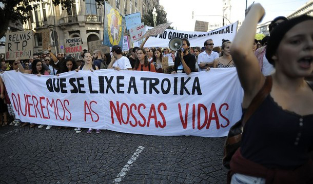 Portugal, 15 September 2012. Thousands demonstrated against austerity measures: 'Damn the troika, we want our lives!'