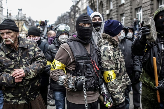 Neo-Nazis and extreme-right protesters in Ukraine