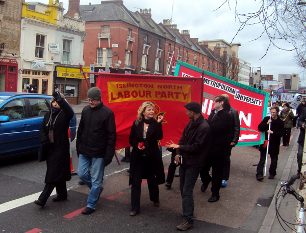 Photo: Islington Labour Party joined the IHOOPS march, 5th Feb 2011, despite the fact that it is the Labour Council implementing the cuts.