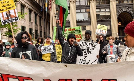 Protesters-gather-outside-the-Criminal-Justice-Center-after-a-court-hearing-for-Mumia-Abu-Jamal-in-Philadelphia-on-Monday-Oct-29-2018