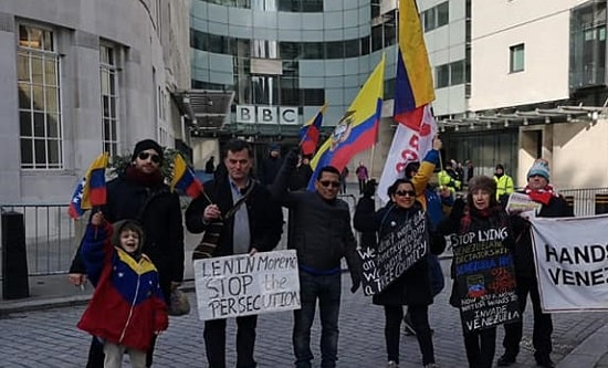 2 February 2019: RCG members and supporters demonstrate outside BBC Broadcasting House to call out the lies and distortions being perpetuated by the media about Venezuela