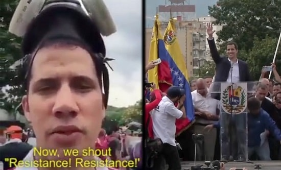 Juan Guaido participating in the violent 2014 protests (left) and giving a speech in January 2019 (right)