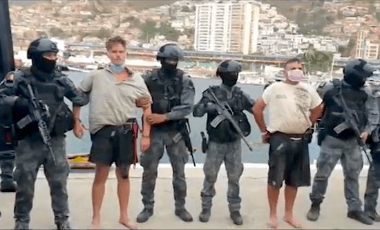 Venezuelan security forces with captured former US Green Berets